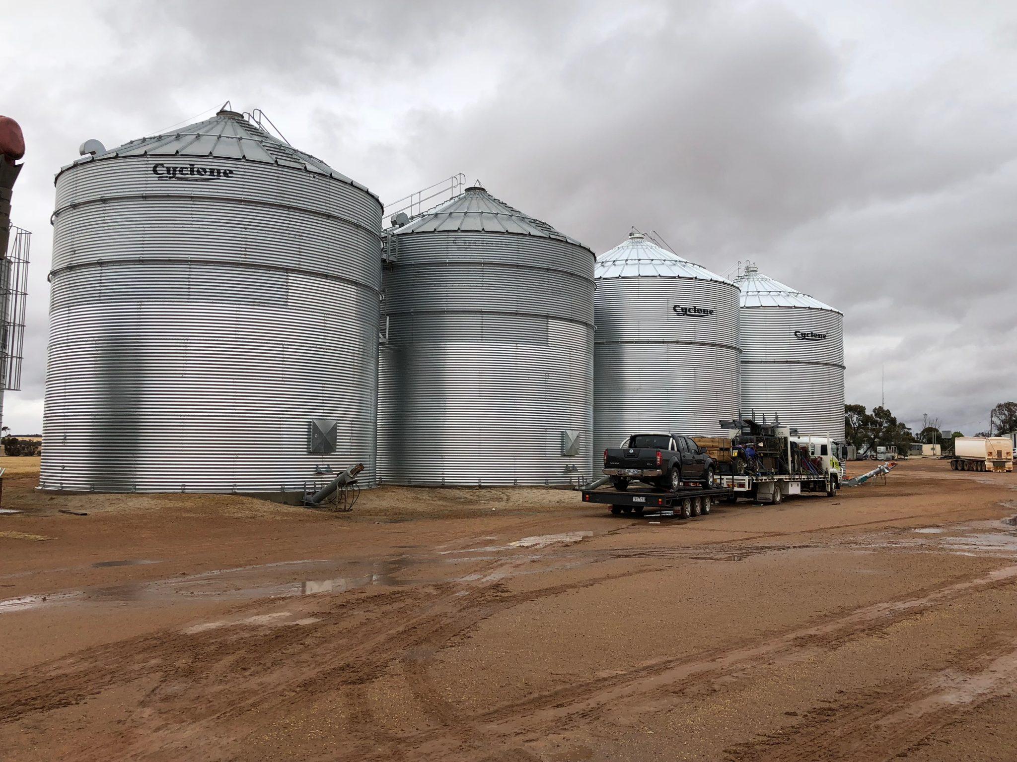 Cyclone On fram Grain Storage